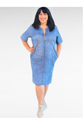 Макси рокля в светъл деним с цип и камъчета /размери 3XL,4XL,5XL,6XL/ Модел: 740