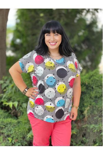 Тениска с принт на кръгове /Универсален размер/ Модел: 756