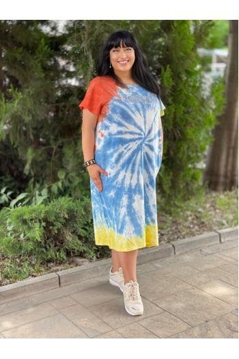 Свежа лятна рокля в преливащи цветове /размери 52,54,56/ Модел: 747