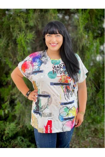 Макси тениска с надписи /размери 52,54,56/ Модел: 750