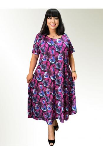 Макси рокля в пъстър десен от цветя /Универсален размер/ Модел: 777