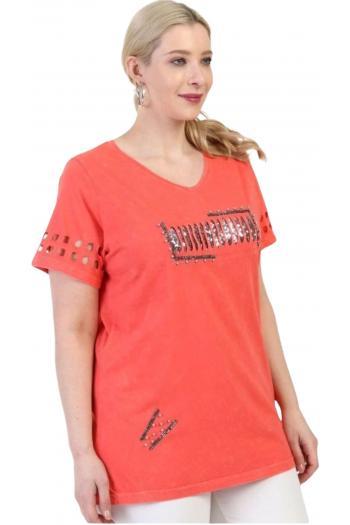 Ежедневна тениска в цвят корал /размери 3XL,4XL/ Модел:673
