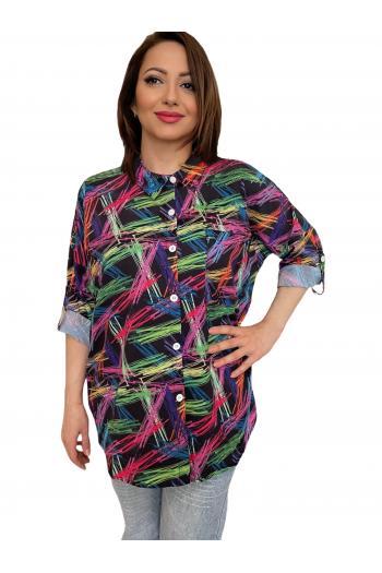 Цветна риза с подгъващи ръкави /размери L, XL/ Модел: 325