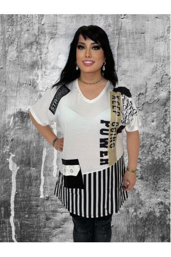 Макси туника в черно-бял десен /размери 44,46,48/ Модел: 641