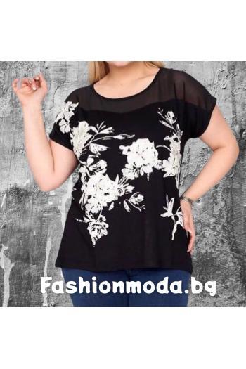 Елегантна макси тениска с тюл и бродерия цветя /размери 46,48,50/ Модел: 326
