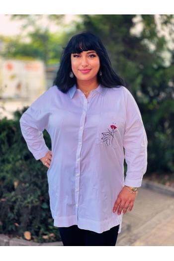 Макси риза с красива щампа и финни камъчета /размери 50,52,54/ Модел: 944