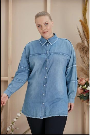 Дънкова риза с акцент от ресни /размери XL,2XL,3XL,4XL/ Модел: 947