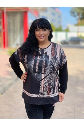Макси блуза в красив десен и мини камъчета /размери 50,52,54/ Модел: 973