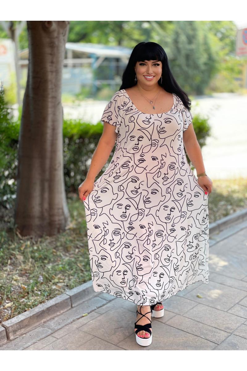 Дълга макси рокля с арт лица /Универсален размер/ Модел: 789