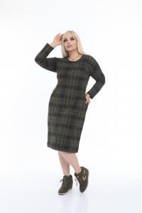 Макси рокля в зелено каре /размери 2XL,3XL,4XL/ Модел: 522