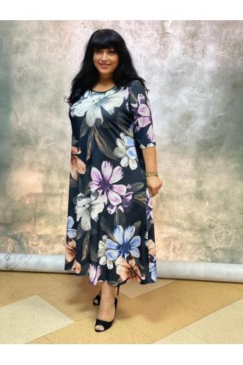 Кокетна макси рокля на свежи цветя/размери 4XL,5XL/ Модел:857