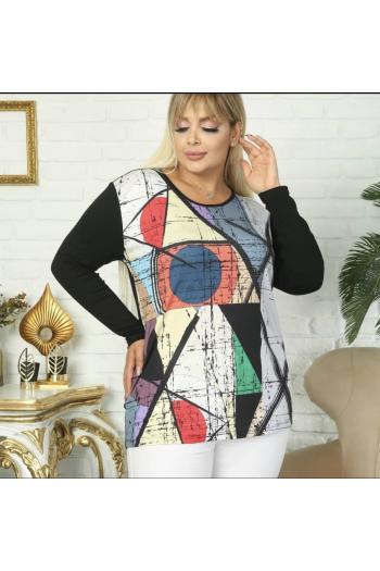 Цветна макси блуза на интересни фигури /размери 52,54,56/ Модел:867