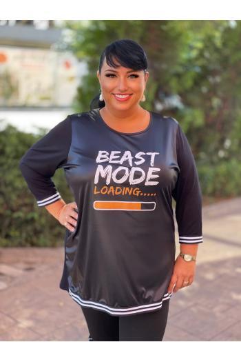 Макси блуза с апликация и плат имитиращ кожа /размери 4XL,5XL/ Модел: 906