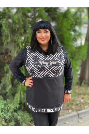 Екзотична макси блуза с комбинация от букле /размери 46,48 / Модел: 930