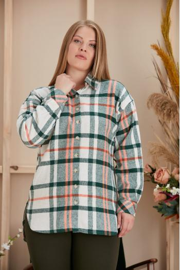 Макси риза на каре в зелено и оранжево /размери 44,46,48,50,52,54,56,58/ Модел: 957