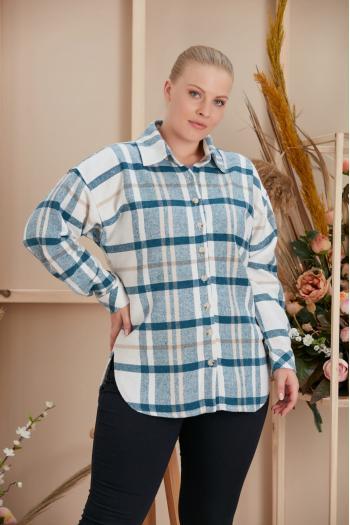 Ватирана макси риза на каре/размери 52,54,565,58/ Модел: 958
