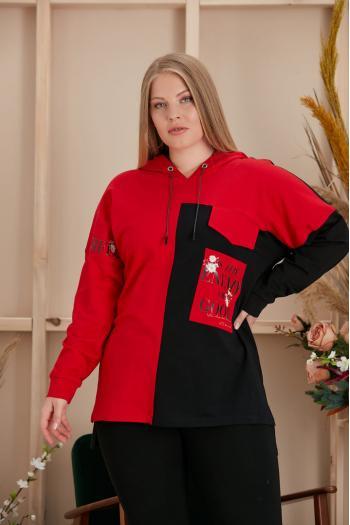 Макси спортна блуза с качулка/размери 52,54,56,58/ Модел: 959