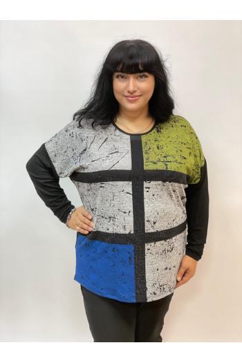 Макси блуза в красив десен и мини камъчета /размери 52,54,56/ Модел: 988