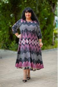 Абстрактна дълга рокля на ромбове /Универсален размер/ Модел: 719