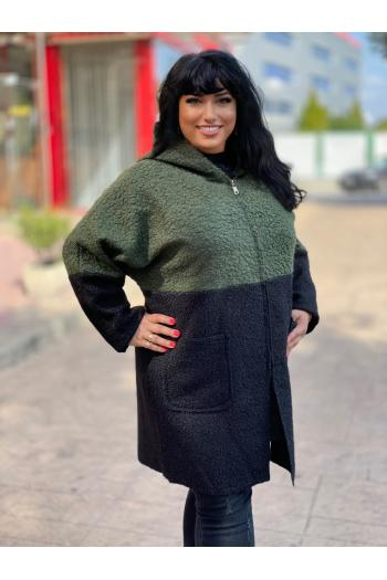 Макси палто в зелено и черно /Универсален размер/ Модел: 965