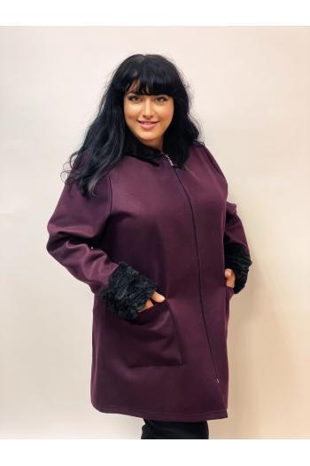 Палто от еко кашмир в цвят патладжан /размери 4XL,5XL/ Модел: 976