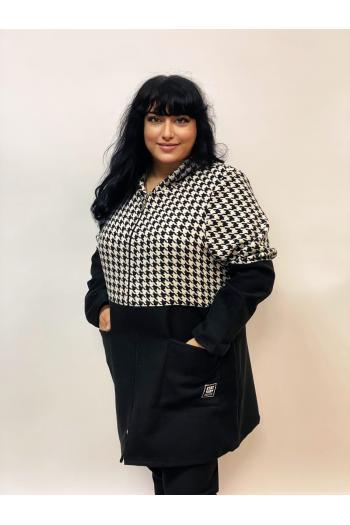 Макси палто в черно и пепит /размери 4XL,5XL/ Модел: 981
