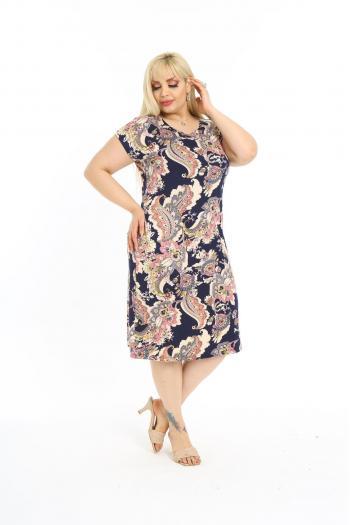 Лятна  рокля в цветен принт /размери 2XL,3XL,4XL/ Модел: 616