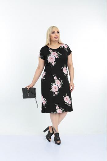 Лятна рокля на рози /размери 2XL,3XL,4XL/ Модел: 621