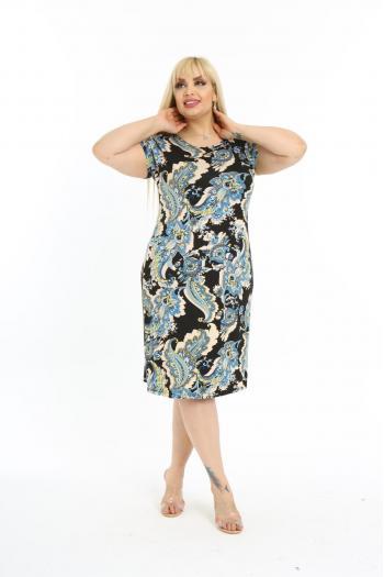 Лятна рокля с флорални мотиви /размери 2XL,3XL,4XL/ Модел: 627