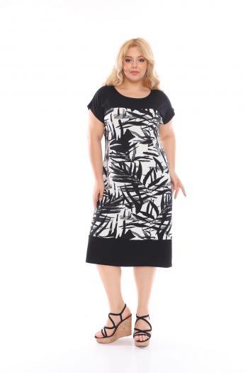 Лятна рокля в черно-бял десен /размери 2XL,3XL,4XL/ Модел: 629