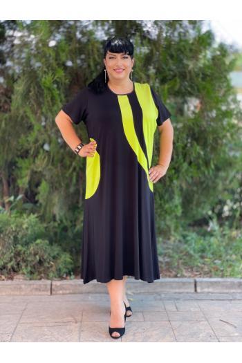 Дълга макси рокля съчетана със свеж цвят лайм /размери 3XL,4XL/ Модел: 389