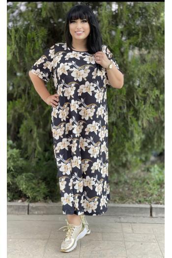 Макси рокля с принт на цветя /размери 4XL,5XL/ Модел: 665