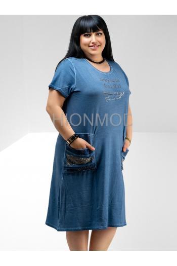 Макси рокля с надписи /размери 46,48,50/ Модел: 631