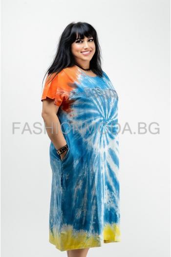 Макси рокля в пъстри цветове/размери 52,54,56/ Модел: 644