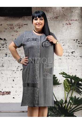 Лятна права рокля с апликация камъни /размери 46,48,50/ Модел: 528