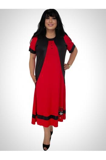 Дълга макси рокля с апликация цвете /размери 3XL,4XL/ Модел:662