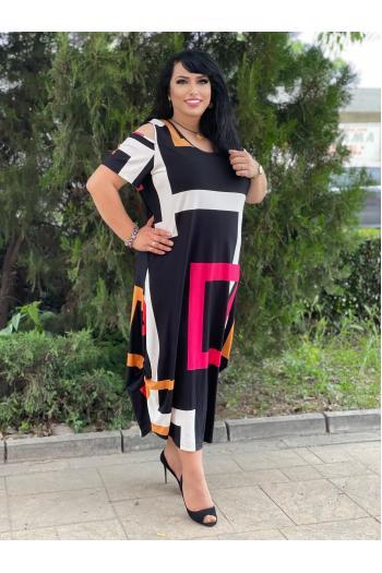 Макси рокля с голи рамене е принт на квадрати /размери 2XL,3XL/ Moдел: 643