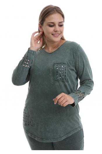 Блуза варен памук с надпис и мрежа/ Модел: 514