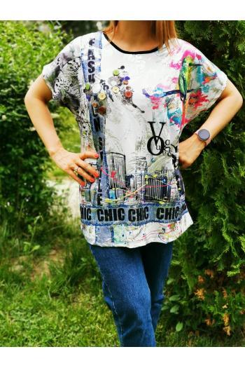 Макси тениска в цветен десен /размери 3XL,4XL,5XL/ Модел: 506