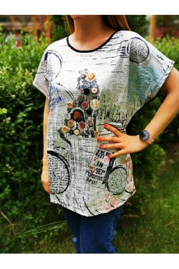 Тениска с декорация копчета и надписи /размери 3XL,4XL,5XL/ Модел: 507