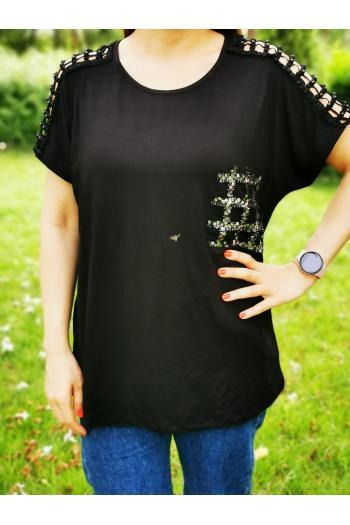 Макси тениска с пайети /размери 3XL,4XL,5XL/ Модел: 508
