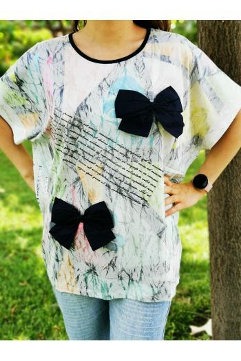 Макси тениска с панделки /размер 46,48,50/ Модел: 511/TR