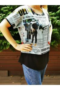 Тениска с надписи имитиращи ефект вестник /размери 42,44/ Модел: 308