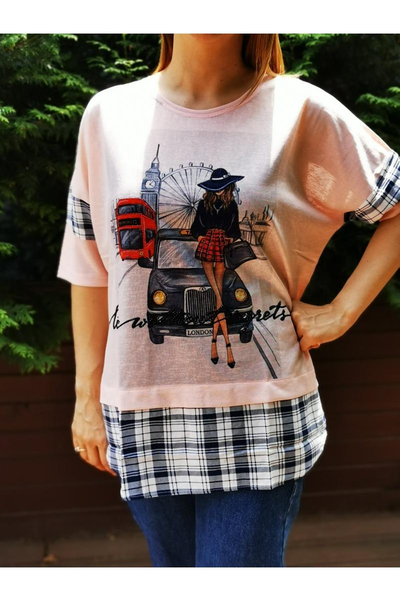 Макси тениска с щампа и каре /размери 42,44/ Модел: 509