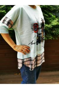 Макси тениска с щампа и каре в синьо /размери 42,44/ Модел: 521