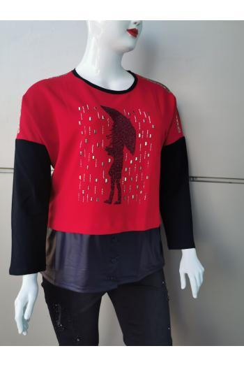 Блуза с камъни и капси /размери 46,48/ Модел: 324
