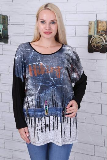 Дамска блуза с надпис /размери 46,48,50/ Модел: 472