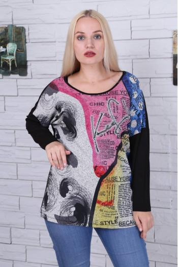 Дамска блуза в пъстър десен /размер 46,48,50/ Модел: 476