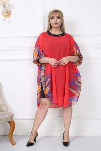 Цветна макси рокля тип пончо /размери 2XL,3XL,4XL/ Модел: 284