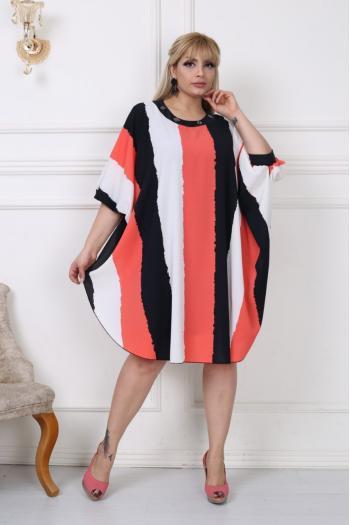 Макси рокля тип пончо от цветен шифон /размери 2XL,3XL,4XL/ Модел: 282